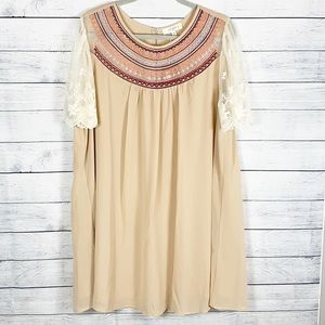 NWT Umgee Chiffon Embroidered Lace Sleeves Dress